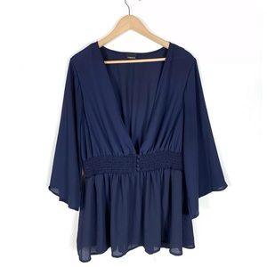 Torrid Blouse Top Blue Sheer V-Neck 3/4 Sleeve 2X